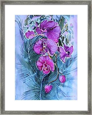 Framed Print featuring the painting Rose Orchids by Mindy Newman