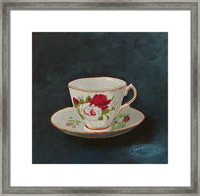 Rose Teacup Framed Print by Sharon Steinhaus