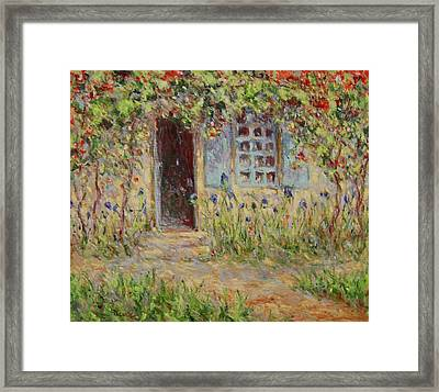 Rose Trees At The Front Of The House Framed Print