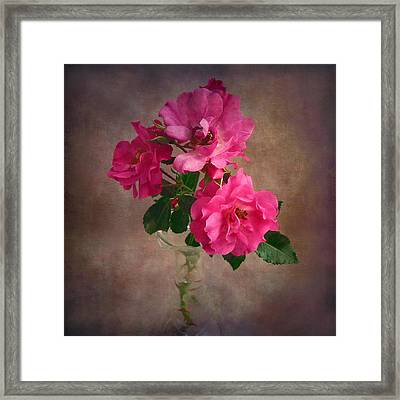 Framed Print featuring the photograph Rose Trio Still Life by Louise Kumpf