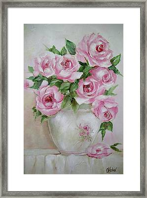 Framed Print featuring the painting Rose Vase by Chris Hobel