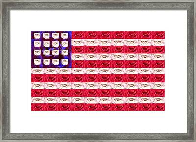 Rose White And Blue Framed Print by Anne Cameron Cutri