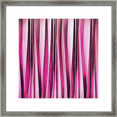 Rose Wine And Burgundy Stripy Lines Pattern Framed Print