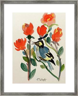 Rose With Blue Bird Framed Print