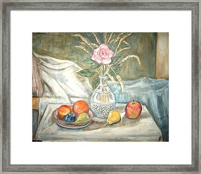 Rose With Fruit Framed Print by Joseph Sandora Jr