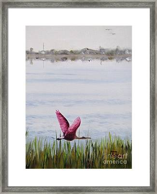 Framed Print featuring the painting Roseate Spoonbill Flight Over The Bay by Jimmie Bartlett