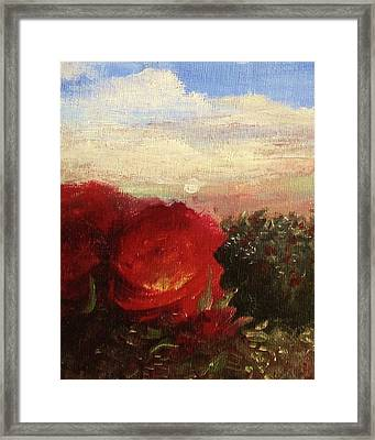 Framed Print featuring the painting Rosebush by Mary Ellen Frazee