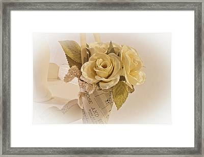 Roses And Butterfly Posy  Framed Print by Sandra Foster