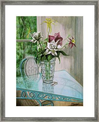 Roses And Columbine Framed Print by Marcella Muhammad