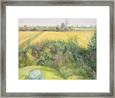 Roses And Cornfield Framed Print
