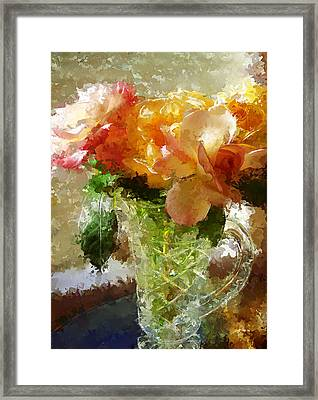 Roses And Crystal Framed Print by Sherrie Triest