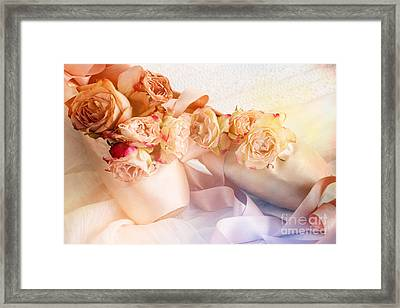 Roses And Dance Shoes Framed Print