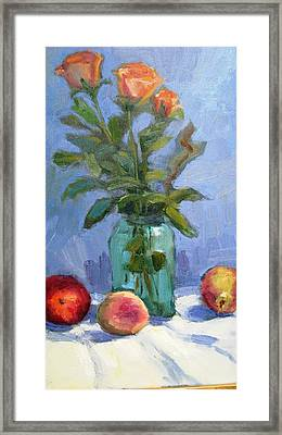 Roses And Fruit Still Life Framed Print
