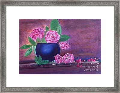 Framed Print featuring the painting Roses And Grapes by Rod Jellison
