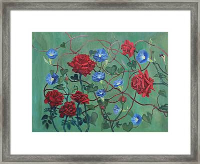 Roses And Morning Glories Framed Print