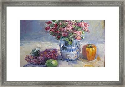 Roses And Pepper Still Life Framed Print