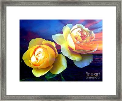 Roses Basking In A Ocean Sunset Framed Print