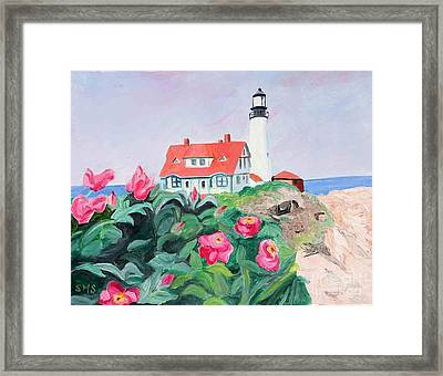 Roses At Portland Headlight Framed Print by Stella Sherman