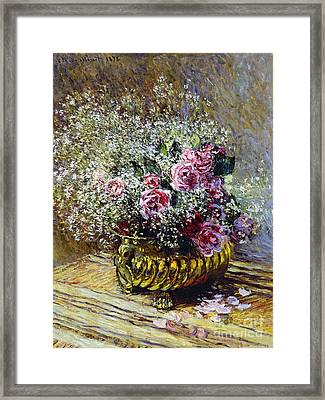 Roses In A Copper Vase Framed Print by Claude Monet