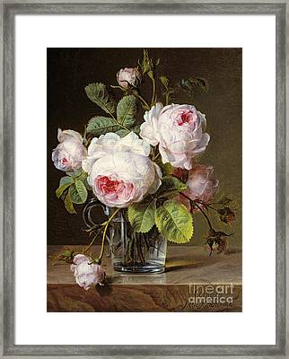 Roses In A Glass Vase On A Ledge Framed Print by Cornelis van Spaendonck