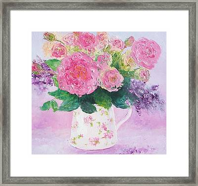 Roses In A Pink Floral Jug Framed Print by Jan Matson