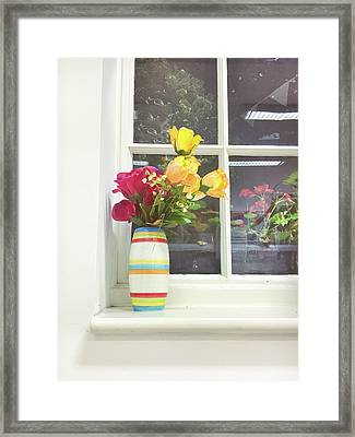 Roses In A Vase Framed Print by Tom Gowanlock