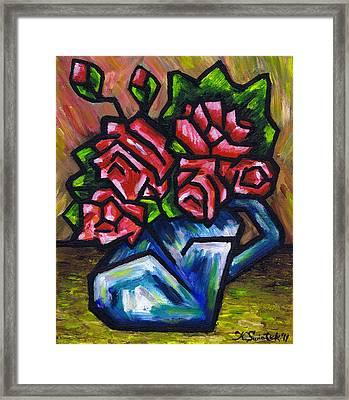 Roses In Blue Vase Framed Print by Kamil Swiatek