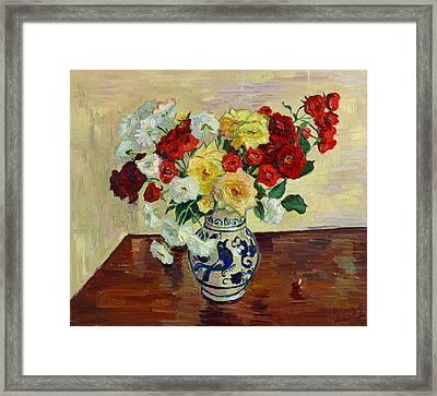 Roses In Chinese Vase Framed Print by Vitali Komarov