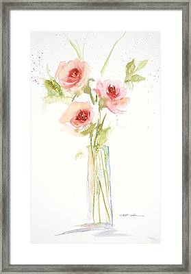 Framed Print featuring the painting Roses In Glass Vase by Sandra Strohschein