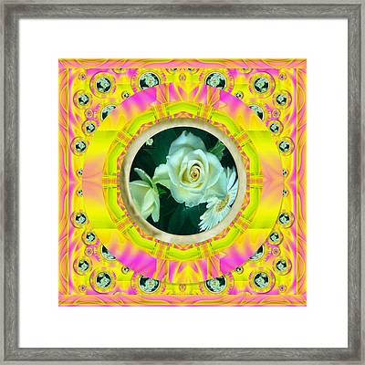 Roses In Rainbows Make Us Happy Framed Print