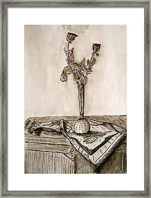 Roses In Sepia. Framed Print