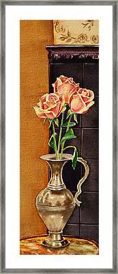 Roses In The Metal Vase Framed Print