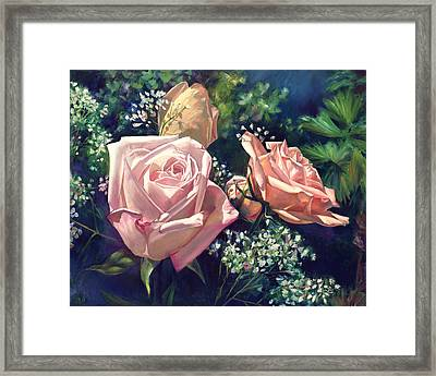Roses In The Mist Framed Print by Nancy Tilles