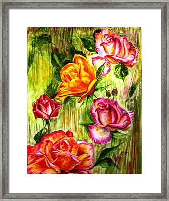 Framed Print featuring the painting Roses In The Valley  by Harsh Malik