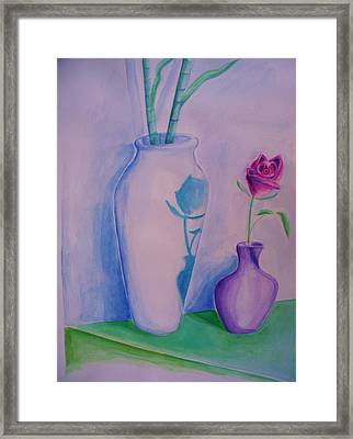 Framed Print featuring the painting Roses  In Vase by Eric  Schiabor
