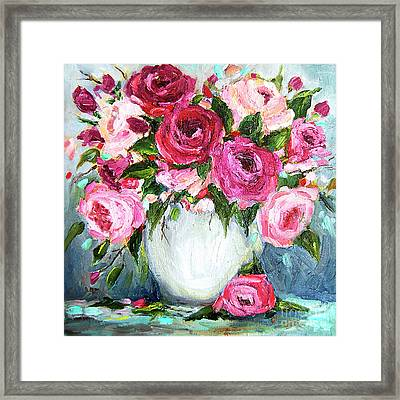 Framed Print featuring the painting Roses In Vase by Jennifer Beaudet