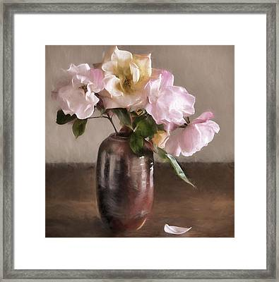 Roses In Vase Painterly Framed Print by Carol Leigh