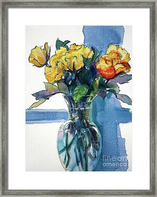 Roses In Vase Still Life I Framed Print by Kathy Braud