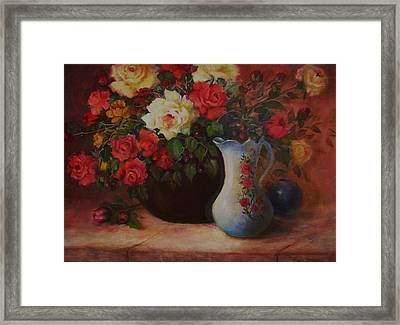 Roses N'blue Framed Print by Naomi Dixon