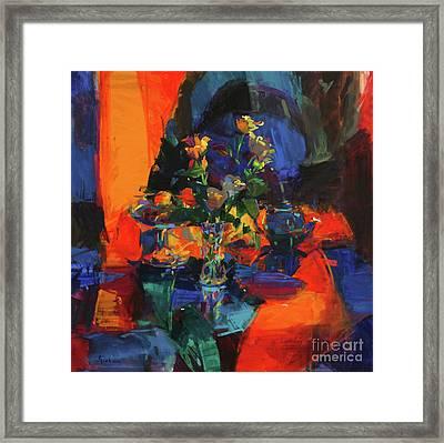 Roses On A Blue Ground Framed Print
