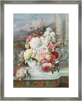 Roses On A Marble Ledge Framed Print by William Jabez Muckley