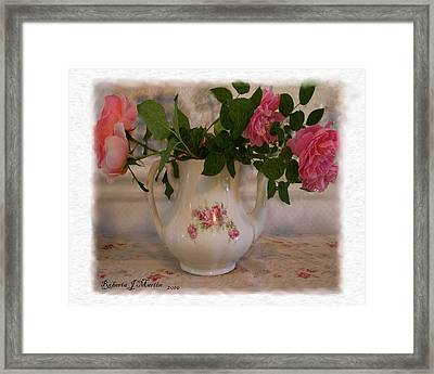 Roses On Breakfast Table  Framed Print