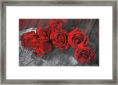 Framed Print featuring the photograph Roses On Lace by Bonnie Willis