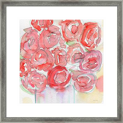 Roses On My Table- Art By Linda Woods Framed Print by Linda Woods