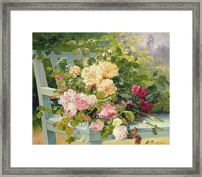 Roses On The Bench  Framed Print by Eugene Henri Cauchois