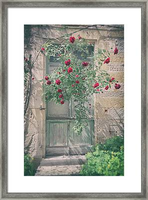 Roses Over A French Door Framed Print