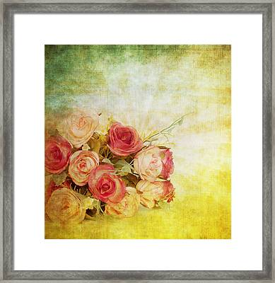 Roses Pattern Retro Design Framed Print