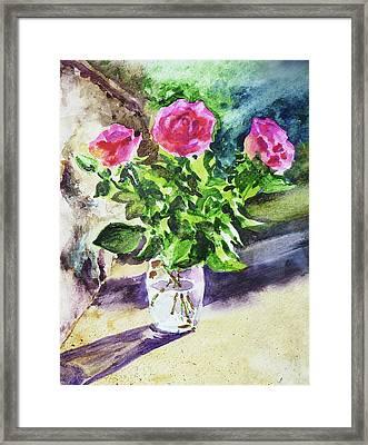 Roses Shadows Impressionism Framed Print