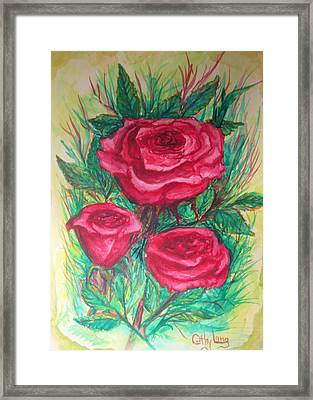 Roses Three Framed Print by Cathy Long