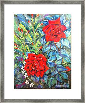 Roses With Baby Breath Framed Print